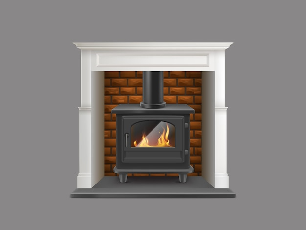 House gas-powered fireplace with white marble stone mantel Free Vector
