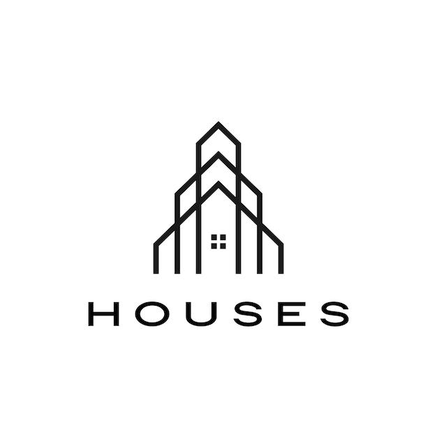 집 집 모기지 지붕 건축가 로고 아이콘 그림 프리미엄 벡터
