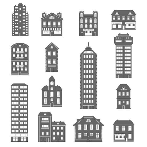 House icons black Free Vector