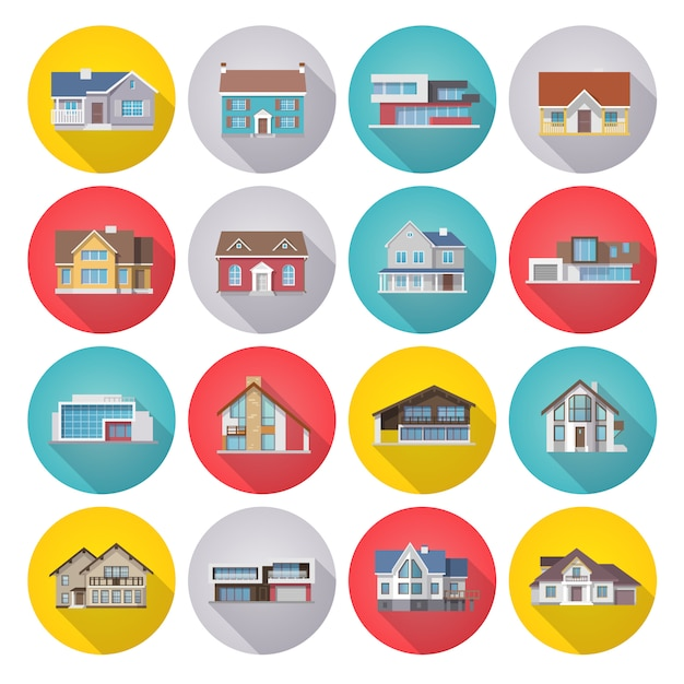 House icons flat set Free Vector