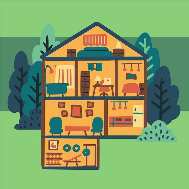 Illustrazione della casa in sezione trasversale Vettore gratuito