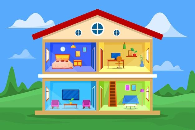 断面の家 Premiumベクター