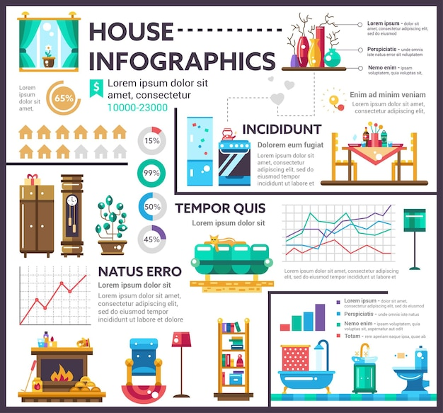 House - info poster, brochure cover template layout with   icons, other infographic elements and filler text Premium Vector