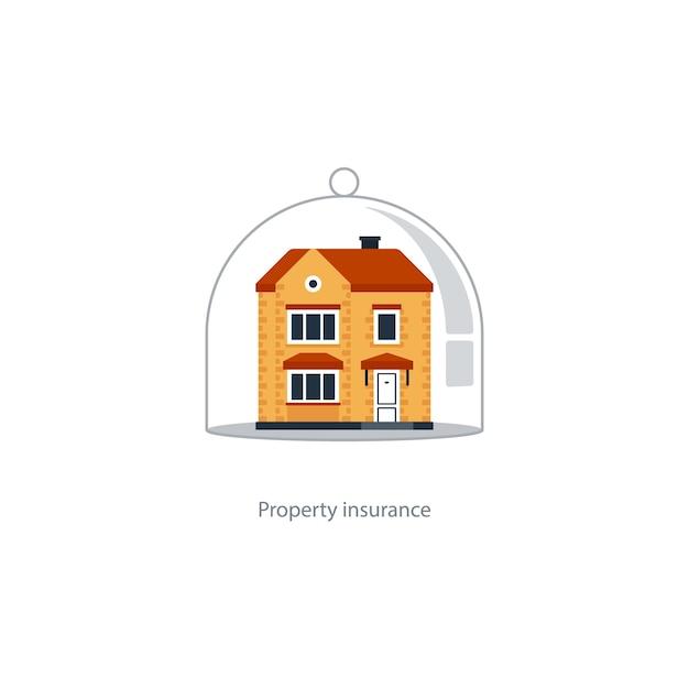 Концепция страхования дома, охрана дома, охрана недвижимости, значок безопасности собственности, безопасная жизнь Premium векторы