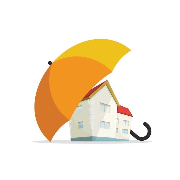 Концепция страхования дома, защита жилой недвижимости Premium векторы