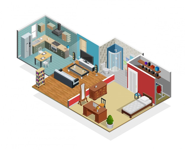 House interior concept Free Vector