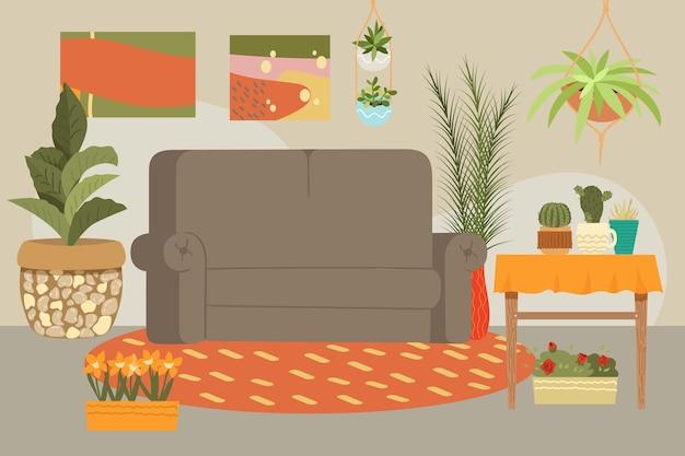 家のインテリア、モダンな現代的な家具ソファ、テーブル、装飾、リビングルーム、イラスト。背景リラックスできる快適さ、ミニマリズムのモダンな外観、アームチェアの快適さ。 Premiumベクター