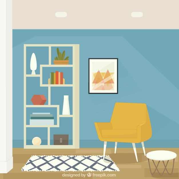 House interior with armchair and shelves Free Vector