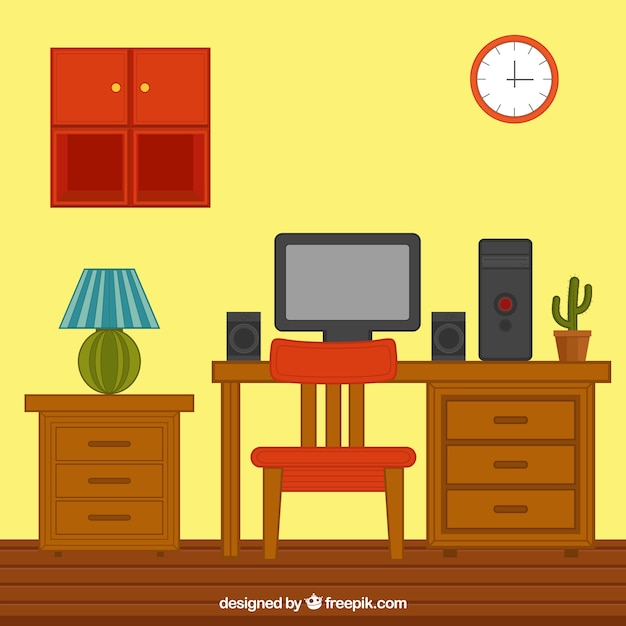 House Interior With Wooden Furniture And Computer Vector