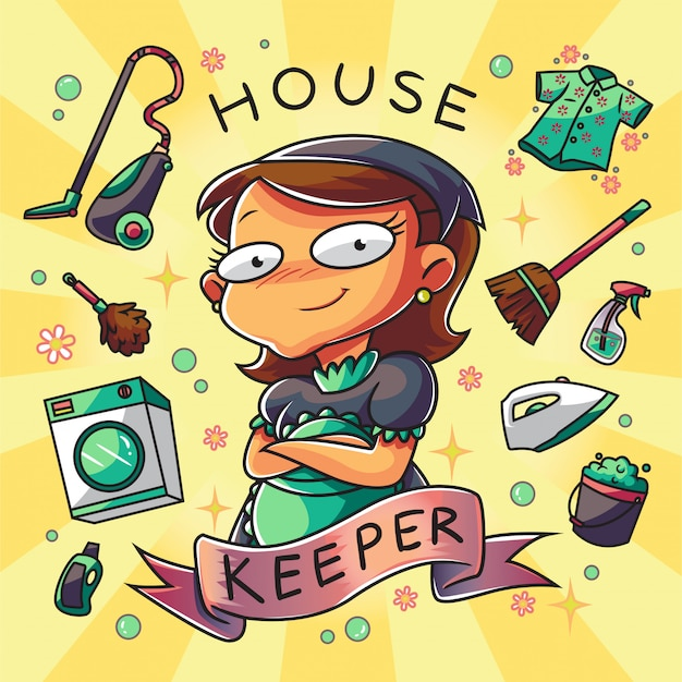 House keeper woman character Premium Vector