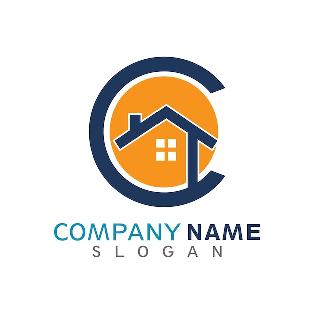 House in letter c initial logo template