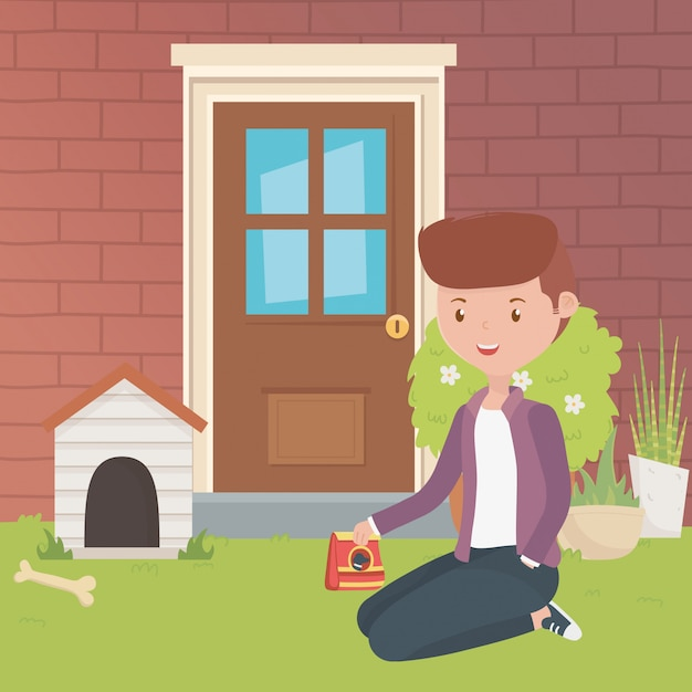 House for mascot and boy cartoon design Free Vector
