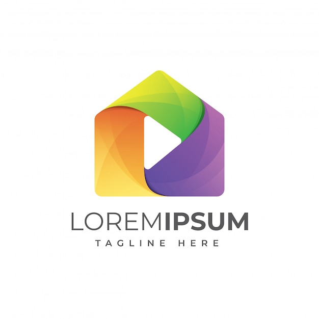 House media play colorful logo template Premium Vector