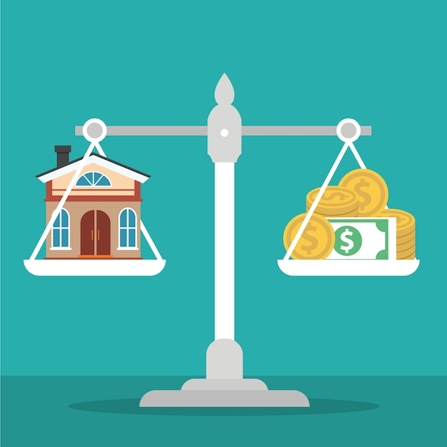 House and money on weighing machine Free Vector