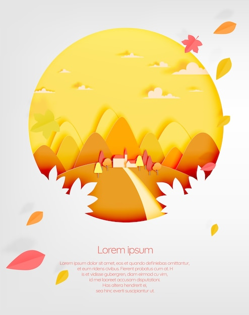 The house and mountain with beautiful landscape in autumn background vector illustration Premium Vector