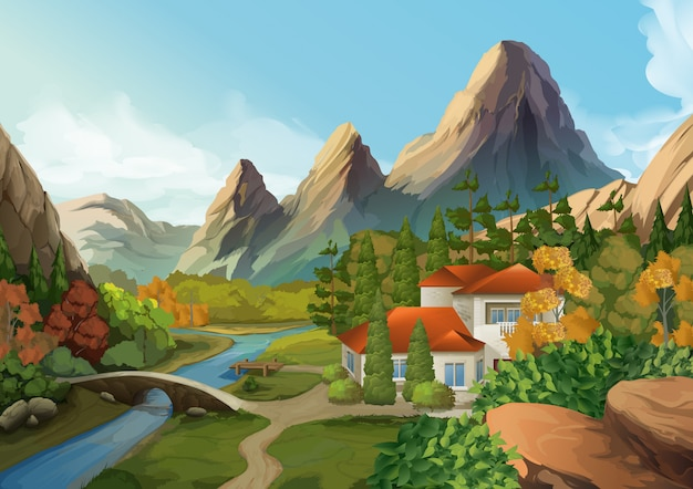 House in the mountains, nature landscape illustration Premium Vector