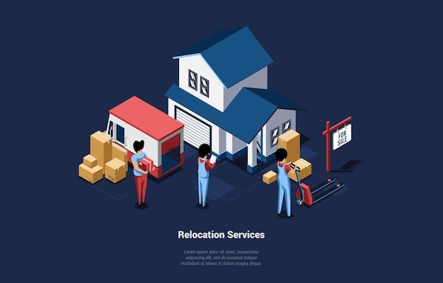 집 이동 및 이전 서비스 개념 사람들의 그룹과 만화 스타일의 3d 일러스트. 건물에서 트럭 또는 반대로 골 판지 상자를 들고 직원의 아이소 메트릭 벡터 구성. 프리미엄 벡터