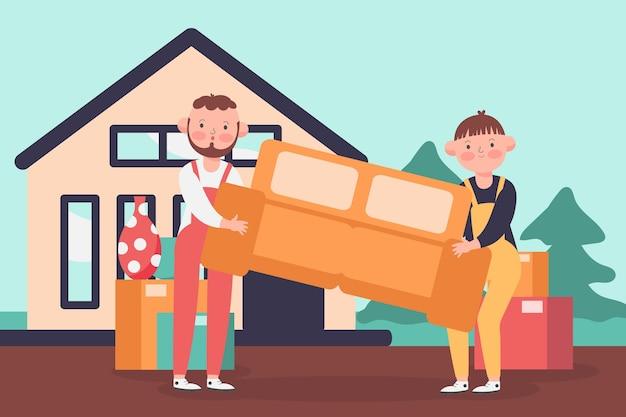 家の移動の概念図 無料ベクター
