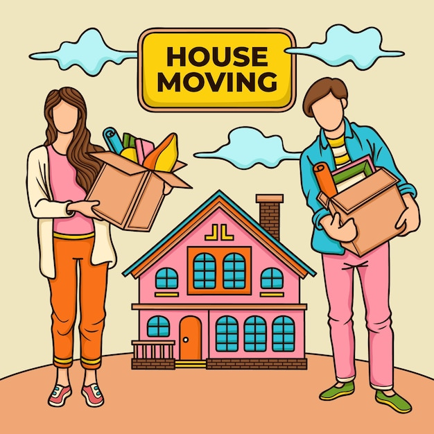 House moving concept illustration Free Vector