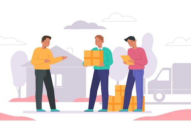 男性と家の移動の概念 無料ベクター