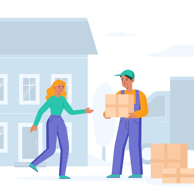 House moving concept with woman and man Free Vector