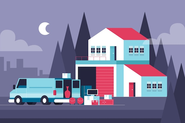 House moving concept Free Vector
