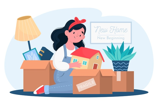 House moving illustration Free Vector