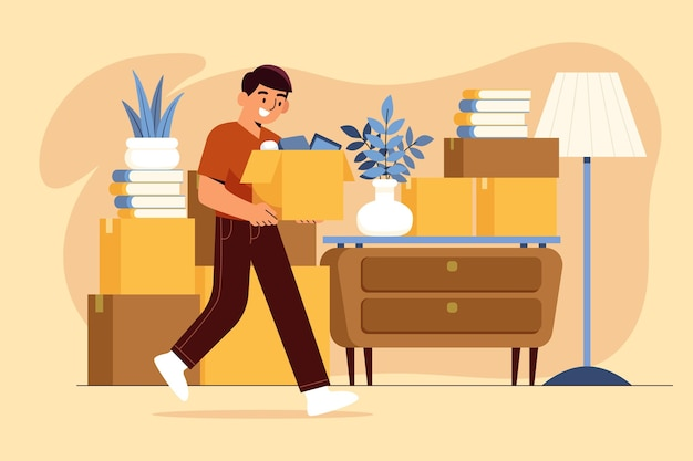 House moving man carrying boxes Free Vector