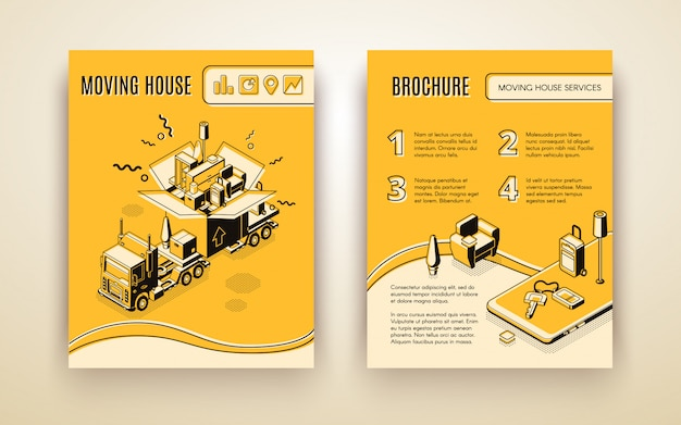 House moving, relocation company, delivery service isometric advertising brochure or promotion booklet. Free Vector