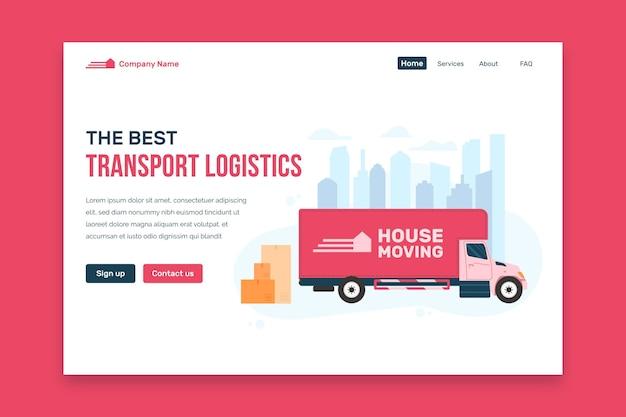 Дизайн целевой страницы услуги переезда Бесплатные векторы