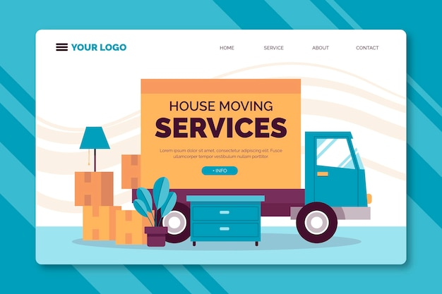 Целевая страница услуг по переезду Premium векторы