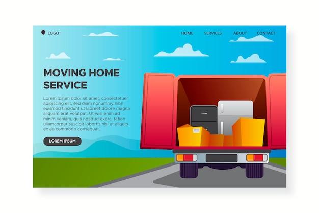 Услуги по переезду дома - лендинг Бесплатные векторы