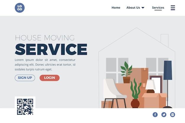 주택 이전 서비스-방문 페이지 무료 벡터