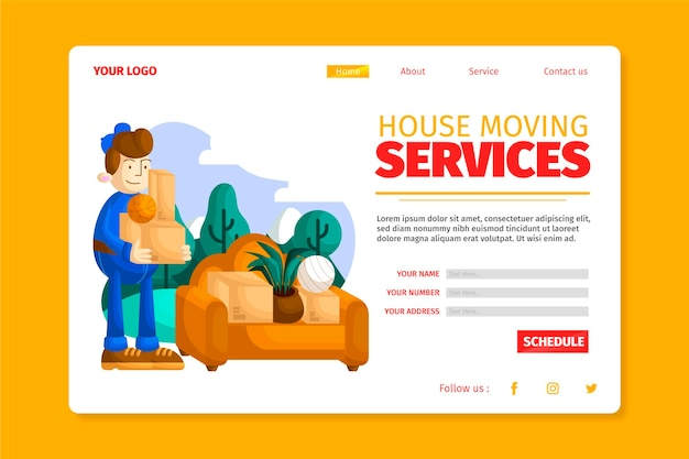 House moving services - landing page Free Vector