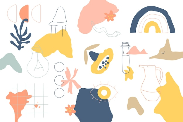 House objects and plants organic shapes background Free Vector