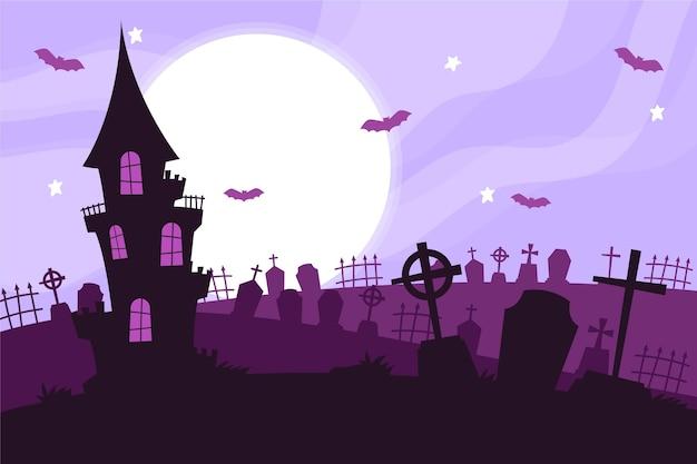 Дом на кладбище хэллоуин фон Бесплатные векторы