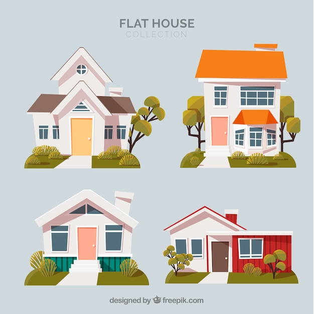 House pack of four Free Vector
