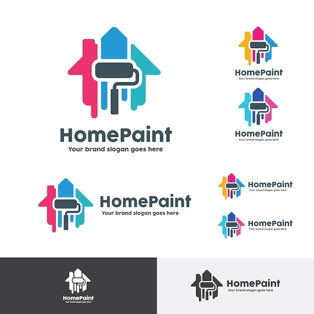House Paint Logo, Home Decoration Company Identity Premium Vector