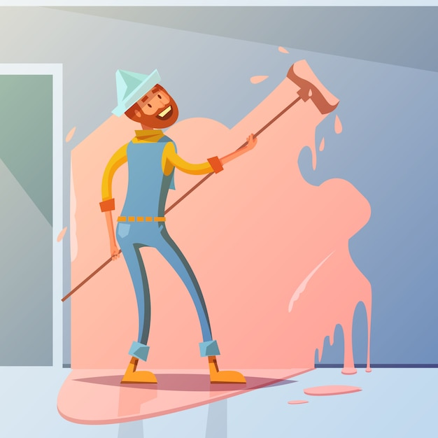 House painter cartoon background Free Vector
