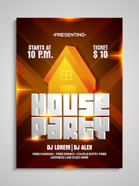 House Party Template Dance Party Flyer Night Party Banner Vector