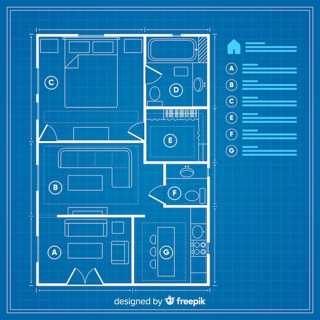 House plan with blueprint concept Free Vector