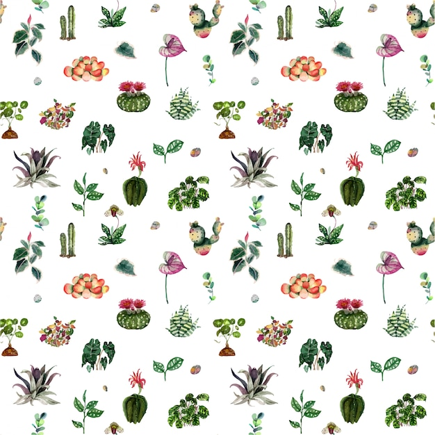 House plants and flowers pattern Premium Vector