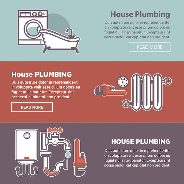 House plumbing and plumber fixture Premium Vector