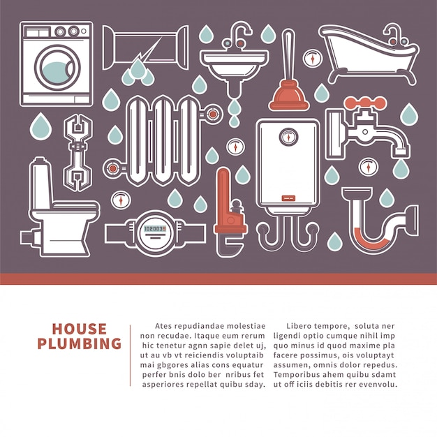 House plumbing web banner for promotion repair services. Premium Vector