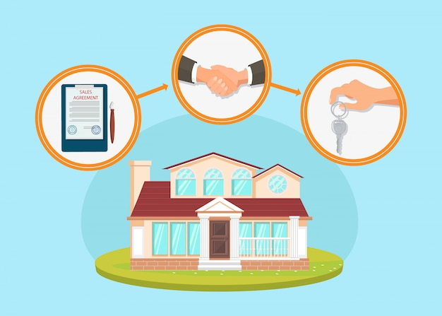 House purchase process flat Premium Vector