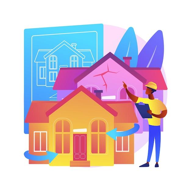 Illustrazione di concetto astratto di ristrutturazione della casa. idee e suggerimenti per la ristrutturazione della proprietà, servizi di costruzione, potenziale acquirente, elenco di case, progetto di ristrutturazione. Vettore gratuito