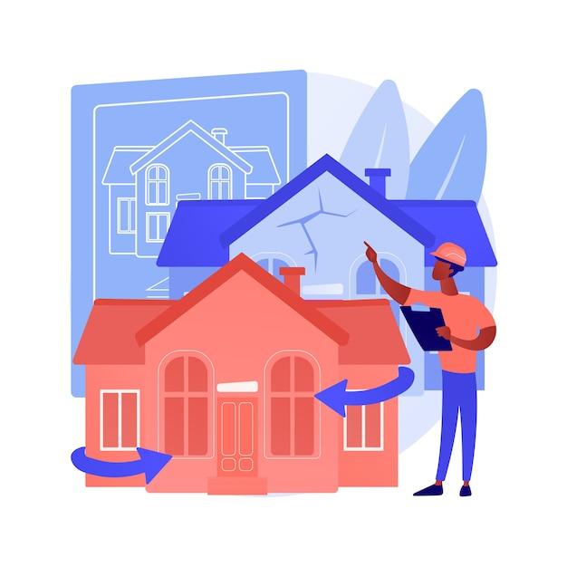 家のリフォームの抽象的な概念のベクトル図です。不動産リフォームのアイデアとヒント、建設サービス、潜在的な購入者、住宅リスト、リフォームデザインプロジェクトの抽象的なメタファー。 無料ベクター
