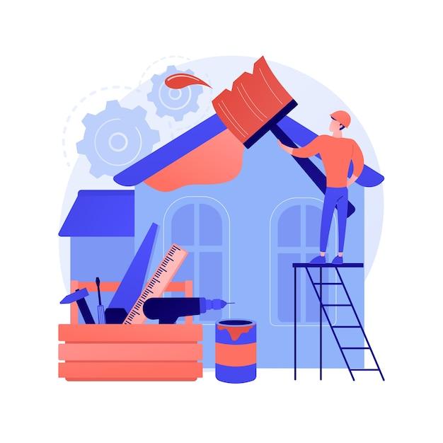 Иллюстрация вектора абстрактной концепции ремонта дома. идеи и советы по ремонту недвижимости, строительные услуги, потенциальный покупатель, листинг дома, абстрактная метафора дизайн-проекта ремонта. Бесплатные векторы