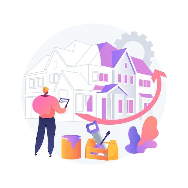 Illustrazione di vettore di concetto astratto di ristrutturazione della casa. idee e suggerimenti per rimodellamento di proprietà, servizi di costruzione, potenziale acquirente, elenco di case, metafora astratta del progetto di ristrutturazione. Vettore gratuito