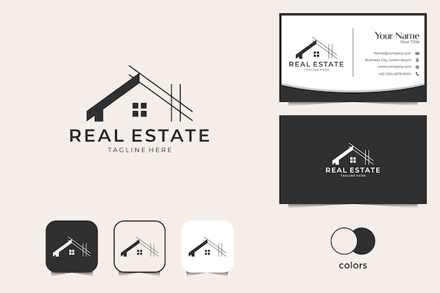 House renovation real estate logo design and business card Premium Vector